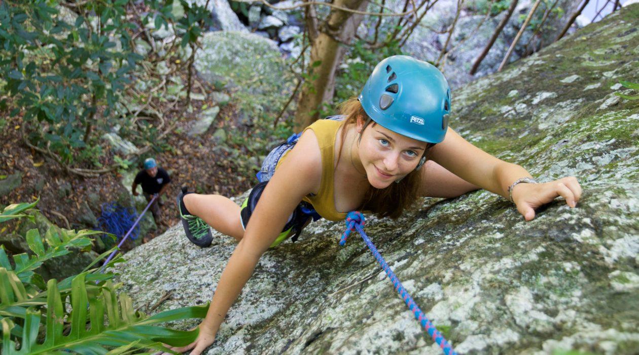 Rock climbing With Topknot Climbing Cairns